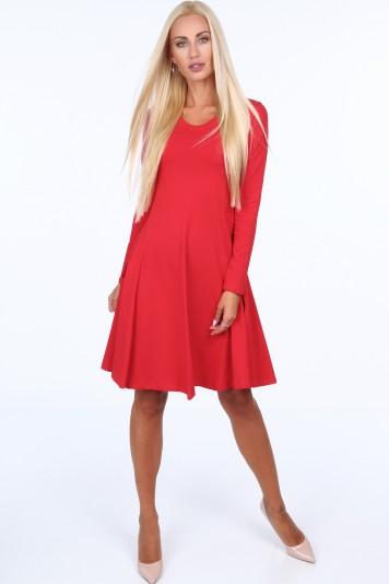 Červené dámske šaty s okrúhlym výstrihom
