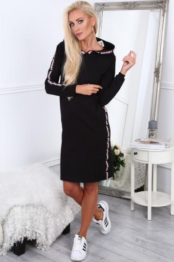 7ac5f30d3c31b Čierne dámske športové šaty s nápismi -FASARDIofficial.sk Veľkosť L