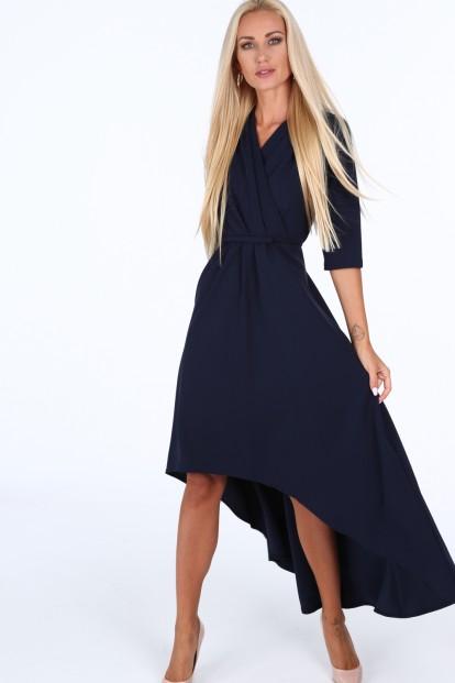 976a43bff Tmavomodré elegantné dámske šaty s výstrihom v tvare písmena V ...