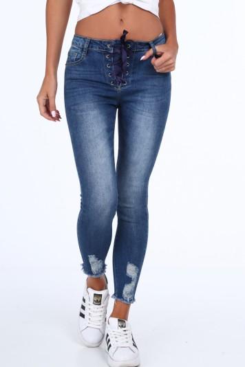 Spodnie wiązane tasiemką jeansowe 29291