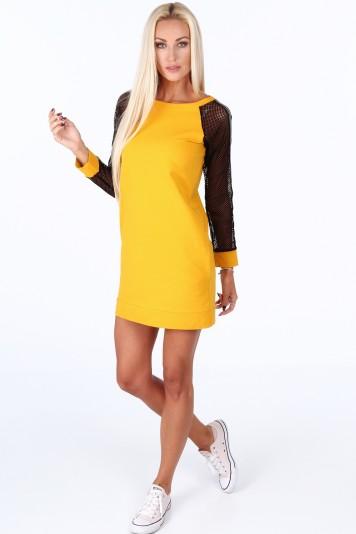 96bb2725fb3b Žlté športové šaty s rukávmi zo sieťkoviny