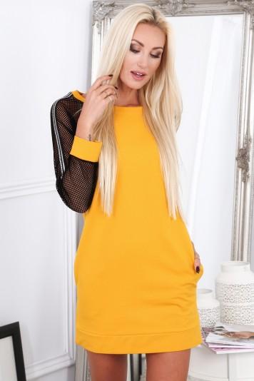 Žlté športové šaty s rukávmi zo sieťkoviny -FASARDIofficial.sk ... 013f633ac4f
