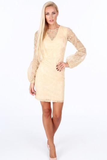 Zlaté dámske šaty s dlhými nafúknutými rukávmi