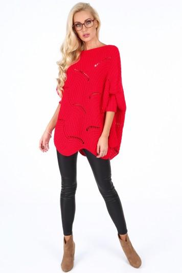 Červený dámsky oversize sveter