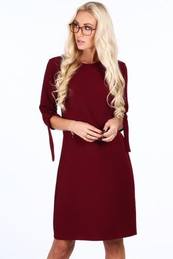 f842417f68d1 Bordové elegantne dámske šaty s mašľami na rukávoch-FASARDIofficial ...