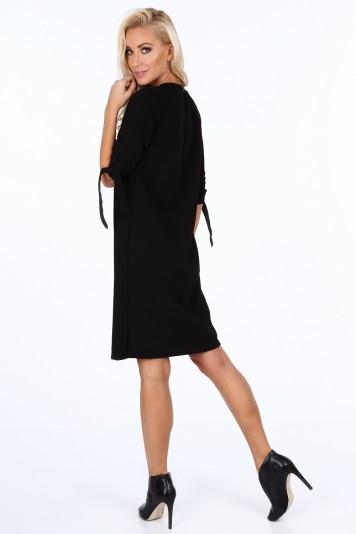 cfac4e7e10e2 Čierne elegantne dámske šaty s mašľami na rukávoch-FASARDIofficial ...