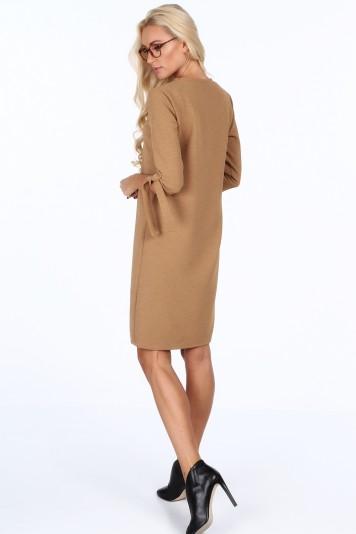 3aa2f7e33b75 Béžové elegantne dámske šaty s mašľami na rukávoch-FASARDIofficial ...