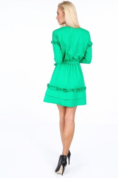 Zelené šaty s dvojitým volánom na spodku