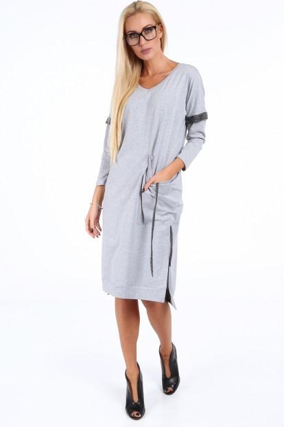 Sivé voľné dámske šaty s V výstrihom