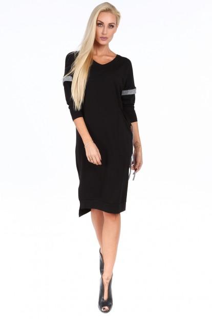 Čierne voľné dámske šaty s V výstrihom