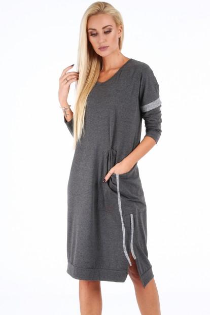 Tmavosivé voľné dámske šaty s V výstrihom