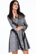 Tmavomodré dámske kockované šaty s dekoratívnou čipkou