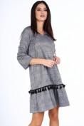 Tmavomodré dámske kockované šaty s viazaním vo výstrihu