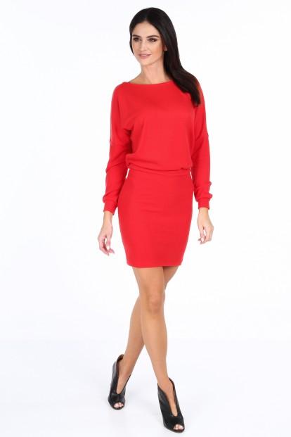 Červené elegantné šaty s výstrihom v tvare V na chrbte
