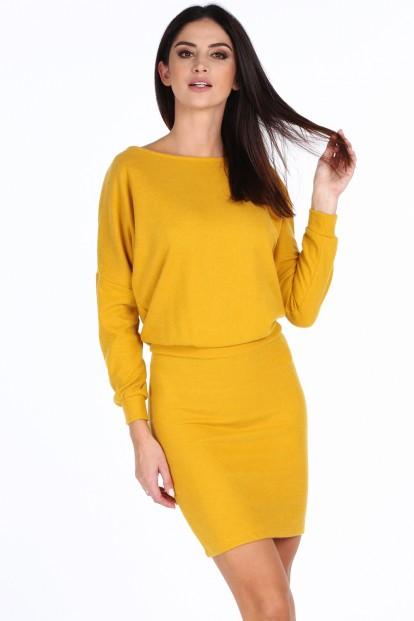Žlté dámske elegantné šaty s V výstrihom na zadnej strane