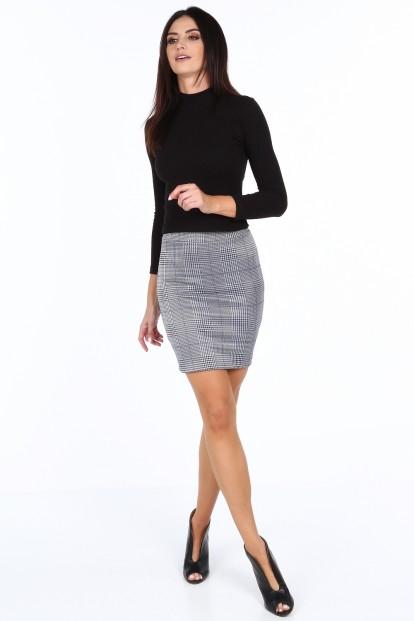 Tmavomodrá dámska kockovaná mini sukňa