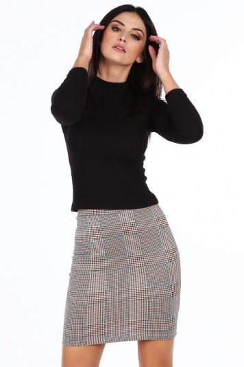 Sivooranžová dámska károvaná mini sukňa