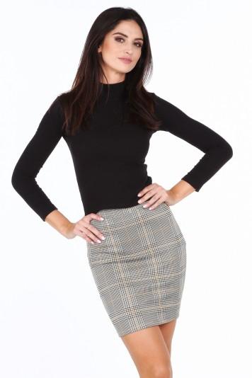 Sivožltá dámska károvaná mini sukňa s elastickým pásom