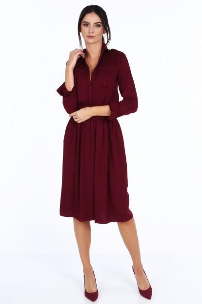Bordové dámske šaty so širokým pásom