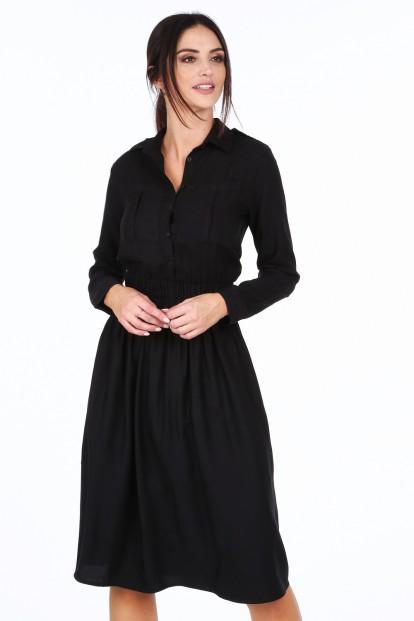 Čierne dámske šaty so širokým pásom