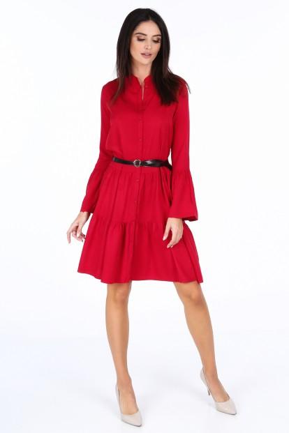 Červené elegantné šaty s volánmi na rukávoch