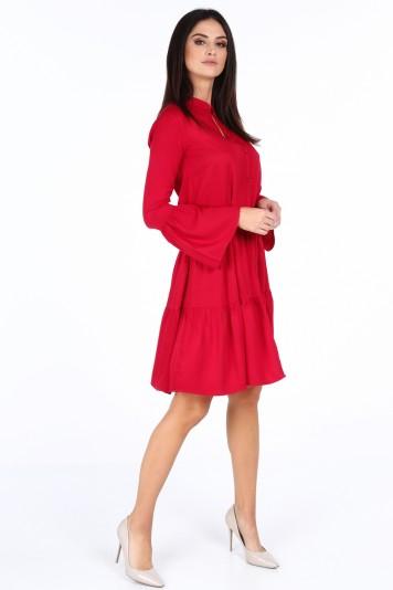 d3349e18ffd7 Červené elegantné šaty s volánmi na rukávoch-FASARDIofficial.sk ...