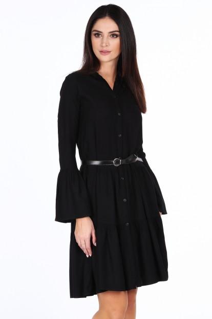 Čierne elegantné šaty s volánmi na rukávoch