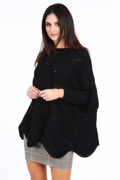 Čierny dámsky nadrozmerný sveter