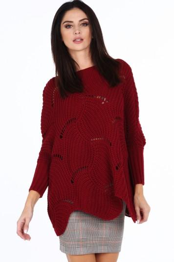 Bordový dámsky oversize sveter