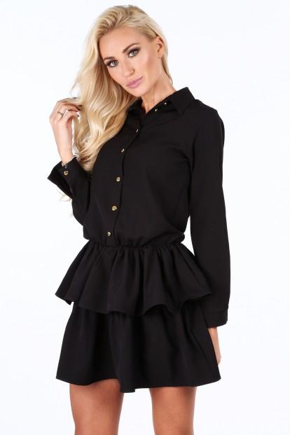 Čierne dámske šaty so zlatými gombíkmi