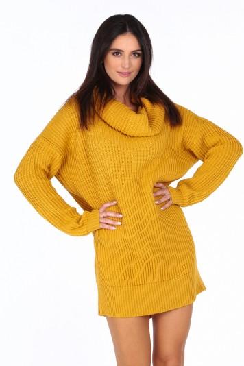 Žltý dámsky sveter s veľkým golierom
