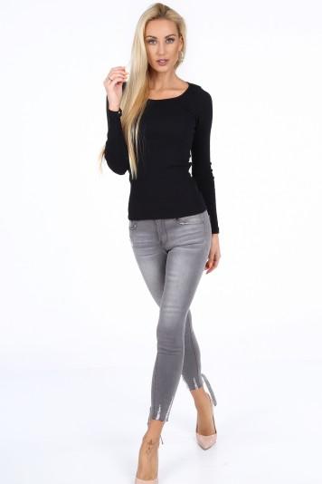Sivé dámske džínsy s korzetovým viazaním v spodnej časti