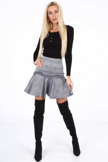 Tmavomodrá dámska mini sukňa s volánom