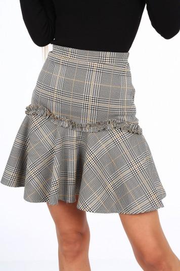 Žltá dámska mini sukňa s volánom