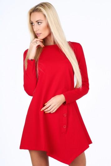 Moderné šaty s dekoratívnou klapkou a gombíkmi, červené