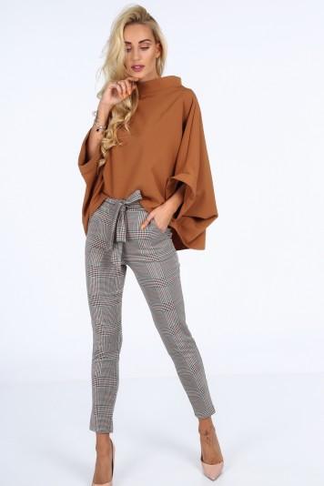 Moderné nohavice so zapínaním na gombík a viazaním v páse, oranžové