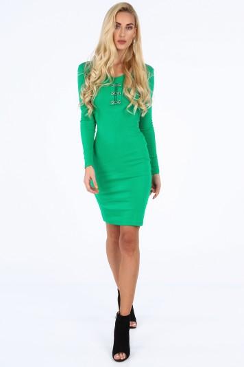 Moderné šaty s dekoratívnymi prvkami vo výstrihu, zelené