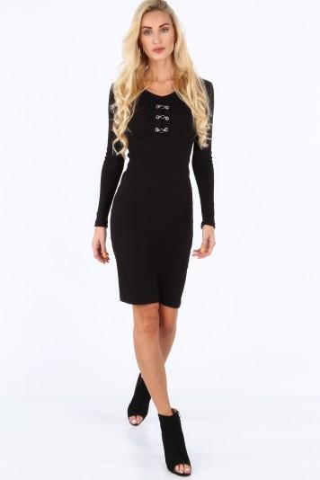 Moderné šaty s dekoratívnymi prvkami vo výstrihu, čierne
