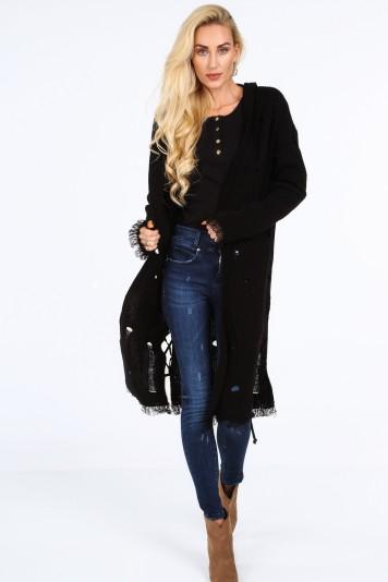 Dlhý sveter s kapucňou, čierny
