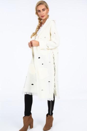 Dlhý sveter s kapucňou, krémový