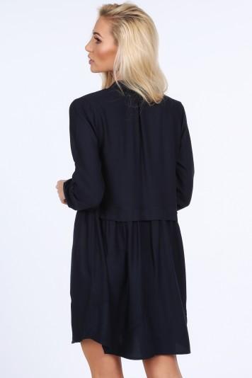 Šaty na gombíky s dlhým rukávom, navy