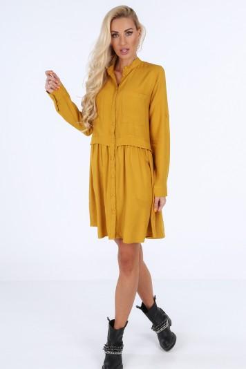 Šaty na gombíky s dlhým rukávom, horčicové