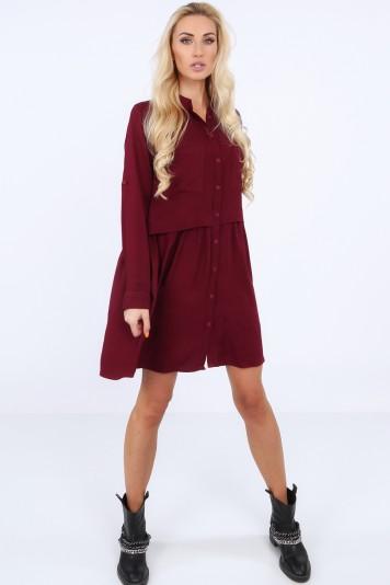 Šaty na gombíky s dlhým rukávom, vínové
