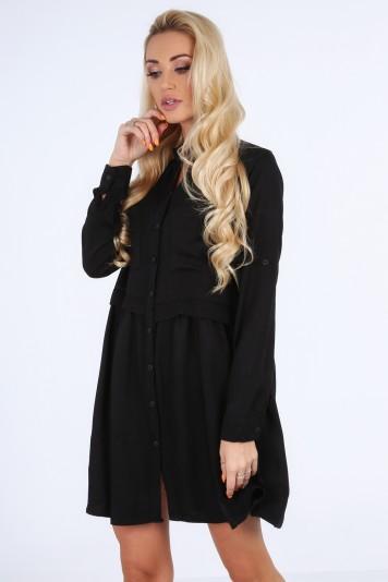 Šaty na gombíky s dlhým rukávom, čierne