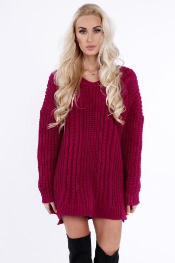 Voľný sveter v purpurovej farbe, s dlhým rukávom