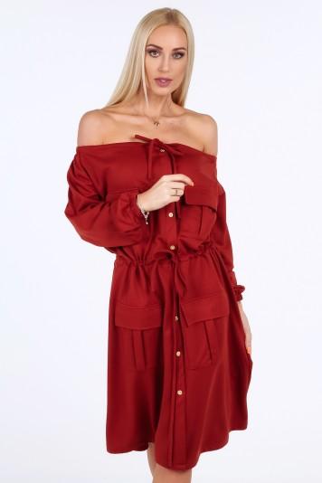 Bordové šaty s holými ramenami