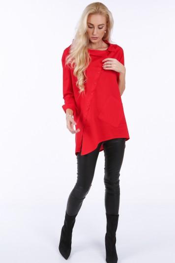 Elegantná košeľa s dlhšou zadnou časťou, červená