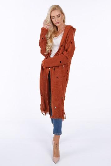 Dlhý sveter s kapucňou, hnedý