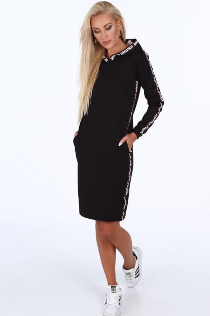 Čierne dámske športové šaty s nápismi