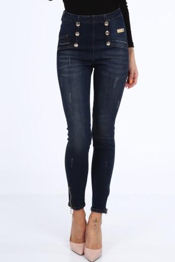 Moderné džínsy so zapínaním na zips na zadnej strane, modré